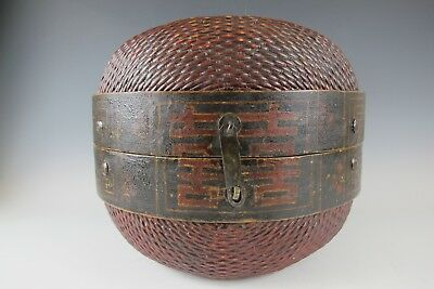 Chinese Antique 17 '' Red & Brown Color Country Style Willow Horse Basket box