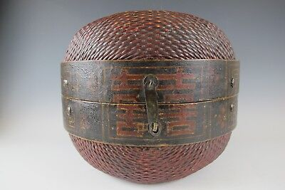 Chinese Antique 17-inch Red & Brown Color Country Style Willow Horse Basket