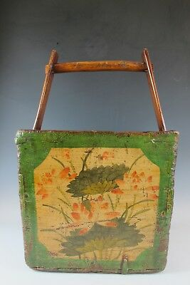 "A Chinese Antique Wooden Dou / Magazine Box with Handle 23 "" High Green basket"