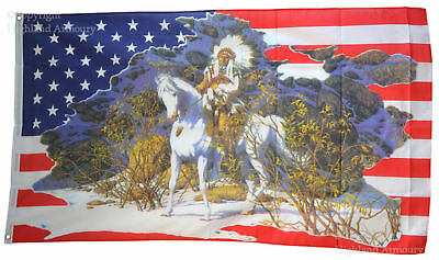 5' x 3' FLAG Native American Indian Chief Horse Stars and Stripes USA Flags ft