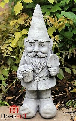Large Garden Gnome Ornament Ceramic Stone Effect 48 cm Tall Outdoor or Indoor