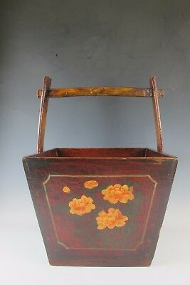 "A Chinese Antique Wooden Dou / Magazine Box with Handle 23 "" High Red basket"