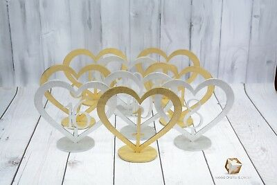 Heart Wood Table Number With Base Different Colours Buy 4 Get 1 Free