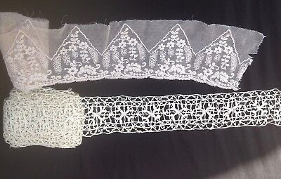 2 Long Lengths Handmade French Vintage Lace 1 x 7 metres, 1 x 1.5 metres