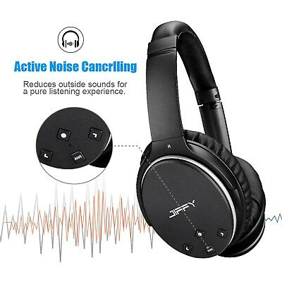 Active Noise Canceling Headphones Wireless Bluetooth Over Ear Stereo Mic JIFFY