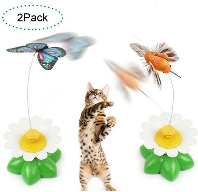CreaTion Set Of 2 Electric Pole Butterfly Interactive Toy For Cat/ Kitten