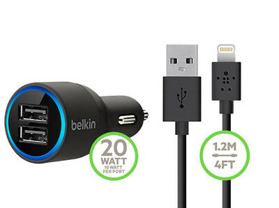 Belkin 2.1A Dual Twin USB Car Charger For Apple iPhone Samsung Android HTC LG UK