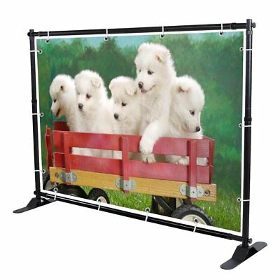 10' Telescopic Banner Stand Step and Repeat Adjustable Backdrop Wall Exhibitor
