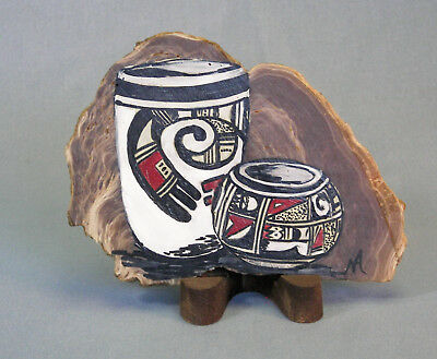 Southwest Art - Indian Pots painted on agate stone(?)  Artist, Mae Anderson 1990