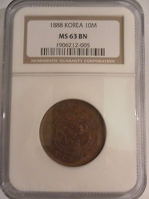1888 Korea 10 Mun Year 497 Yi Hyong NGC MS63BN Brown MS63 Reverse Rotate 10M