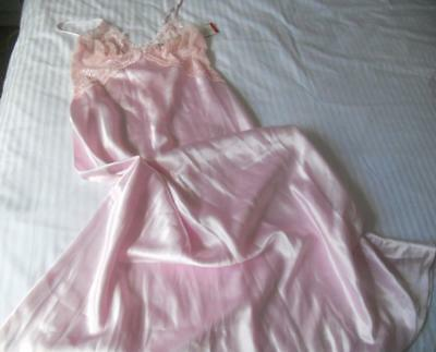 Nwt Ooh La La! Gorgeous Lovable Pink Polyester Satin Nightie Lace Top Size 10