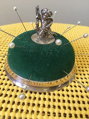 Antiques Tiffany & Co. Sterling Silver Pincushion With Sterling Child Figurine