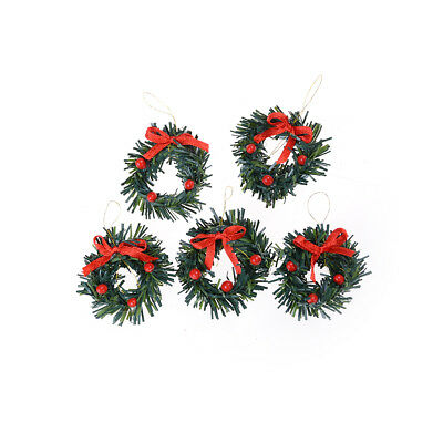 1:12 DollHouse Christmas Garland Decoration With Red Bow DIY Home Decor Gift 3C