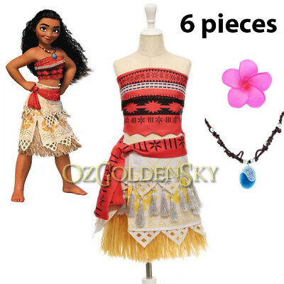 6 pcs Moana Deluxe Girls Polynesia Princess Party Dress Up Cosplay Costume