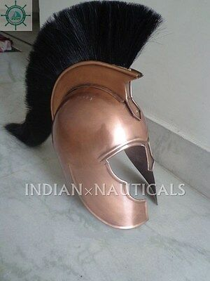 Vintage Antique Medieval Spartan Greek Troy Armour Helmet Copper Finish Gift