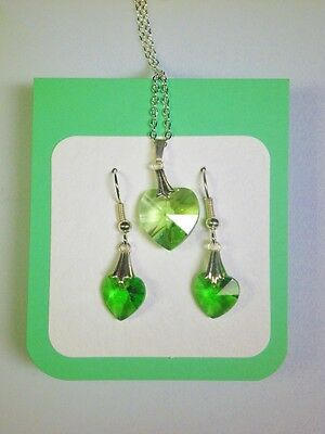 Crystal glass Heart set Green drop small earrings and larger pendant