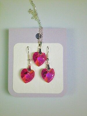 Crystal glass Heart set Bright Pink drop earrings and pendant