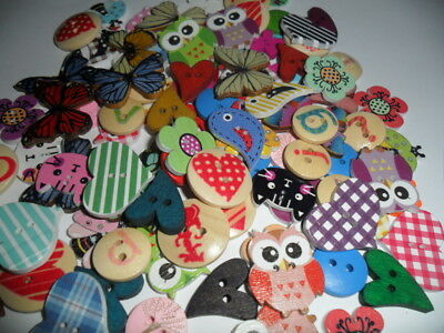 100  mixed wooden wood buttons mixs   . NOVELTY Cartoon Crafts  Sewing 12mm ~20+