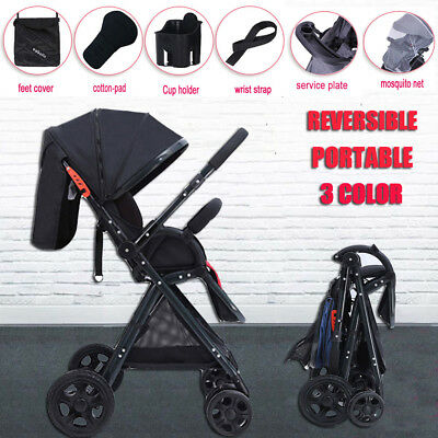 Black Baby Lightweight Pram Foldable Stroller Travel Umbrella Kids Pushchair