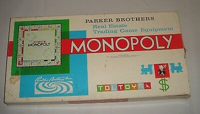 MONOPOLY Toltoys Early Complete Board Game Parker Brothers Real Estate Game '60s