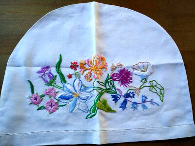 Stunning Honeysuckle/MorningGlory/Thistle+ Vintage Hand embroidered TeaCosy/cosy