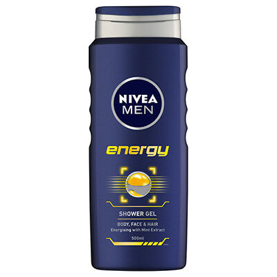 NEW Nivea Shower Gel Men's Energy 3 In 1 Cleansing And Hydrating 500ml