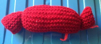 NEW Very Strong Knitted Catnip Toy with Catnip Sack Dark Red Cats love them