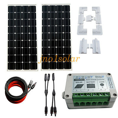 200W OFF GRID kit 2*100W Mono Solar panel & 15A Charge Controller FOR caravan