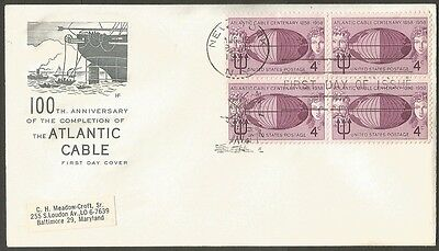Us Fdc 1958 Atlantic Cable Centenary 4C Stamp Hf Cachet First Day Cover Ny