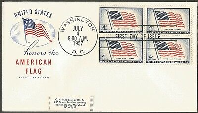 Us Fdc 1957 American Flag Long May It Wave 4C Stamps Hf Cachet First Day Cover