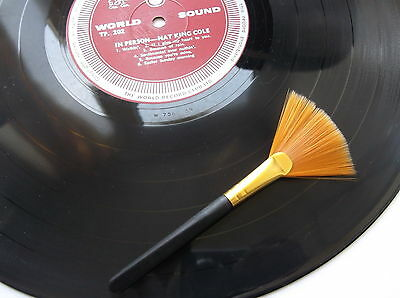 Vinyl Record Cleaning Brush, Fine, Wide Soft Bristles. Cleaning Tool for Records