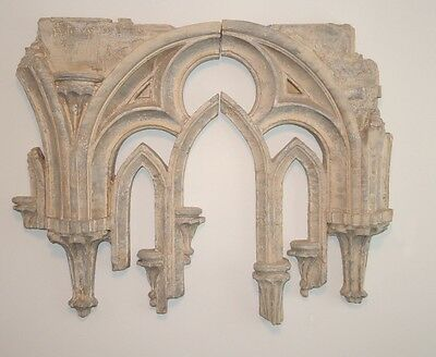Large Arched GOTHIC TRACERY Wall Sculpture Casey Collection 2 Pieces #319-889