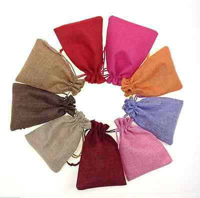 NEW 10-100pcs Cotton Linen Gift Pouch  with Cotton Drawstring Wedding Gift Bags