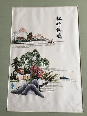 Antique Circa 1890 Signed Japanese Silk Embroidery Mountain Boat House Man Coast