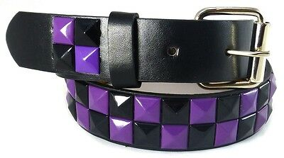 GIRLS STUDDED LEATHER BELT GREEN or PURPLE Silver Belt Buckle M L XL