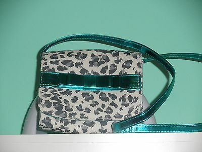 TCP Girls Snow Leopard Purse with Teal Blue Trim