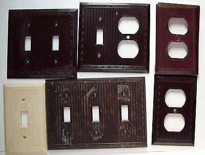 Vtg Mixed Lot of 7 Leviton, Other Switch Plate / Outlet covers -old - Bakelite?