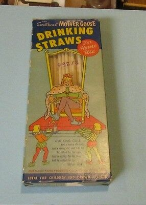 Vintage 1960's Sweetheart Mother Goose Old King Cole Soda Drinking Straws in Box