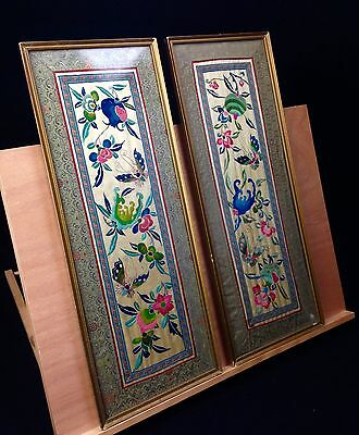 Vintage Chinese Silk Embroidery Pair / Butterfly / Floral / Bright Colours