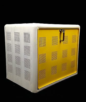 Vintage Metal Meat Cabinet / Country Kitchen Ware / Retro / Yellow And White