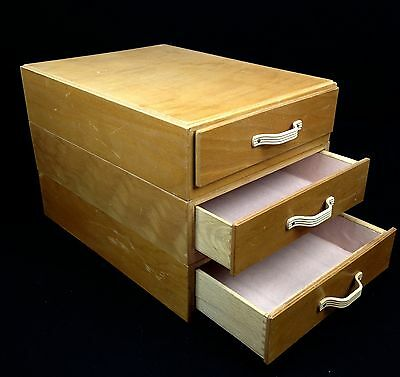 Retro Chest Of 3 Drawers / Filing Box / Stacking / Desk Top / Wooden Storage Box