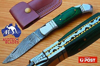 "Damascus Steel Custom Handmade 8.1"" Folding Pocket Knife - Dyed Wood & Brass"