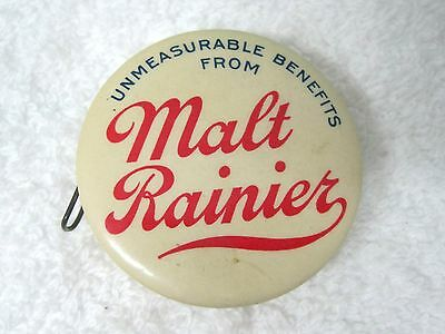Antique Malt Rainier Advertising Celluliod Tape Measure with Mirror T30