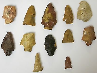 COLLECTION of Arrowheads Mississippi Native American Artifacts - 17 PIECES TOTAL