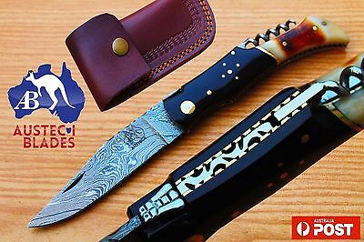 "1095 Damascus Steel Custom Hand Made 8.1"" Folding Pocket Knife Camel Bone & Horn"