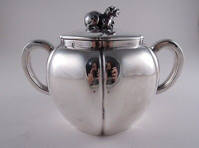 Odiot .950 Silver Sugar Bowl French Figural Foo Dog Lion Not Sterling Fantastic