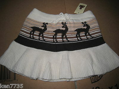 Nwt Baby Gap Girls Copper Mountain Deer Sweater Skirt Size 12-18 Months