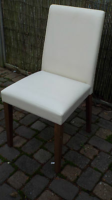 Set of 4 wooden dining chairs with ivory covering - ideal restoration project