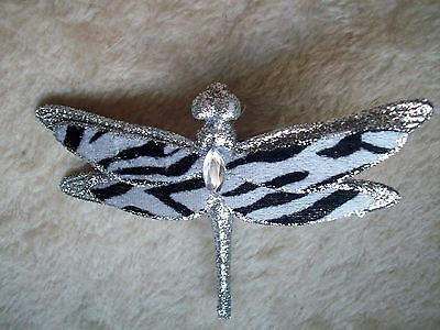 Clip On -  Ornament - Beautiful Zebra Dragonfly