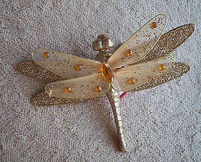 Clip On -  Ornament - Beautiful Gold Dragonfly